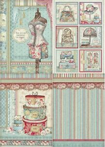 Stamperia Rice Paper A4 - Grand Hotel Collection 4 Designs Your Choice New