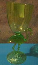 "LIME GR.  FLAMINGO 8""Hawaiian Party Wine Goblet Plastic Glass Pool Friendly Luau"