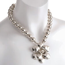 Rustic silver colour costume jewellery ball bead flower pendant choker necklace