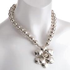 RUSTIQUE couleur argent bijoux fantaisie perle boule pendentif fleur collier ras
