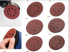 10X 5 inch 125mm Round Shaped Sanding Disc Pads 8 Hole Sandpaper 60-1000 Grit WD