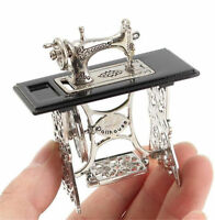 1/12 Dollhouse Miniatures Furniture Vintage Silver Sewing Machine Table Metal ♫