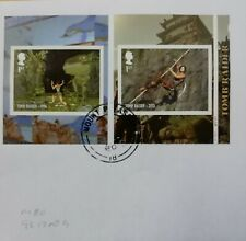 GB 2020 Very fine used pair of Tomb Raider Self Adhesive Booklet Stamps.