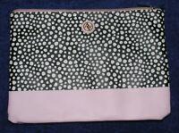 Adrienne Vittadini Handbag Envelope Clutch Purse Black w White Dots Blush Pink