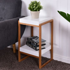 Painted Bedside Table With Bamboo Structure/Side Table Cabinet Stand Shelf Unit