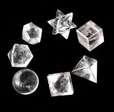 7 pc Clear Quartz Platonic Solids Sacred Geometric Set Crystal Geometric Set