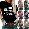 Women Summer Letter Mama Bear Printed T Shirt Blouse Loose Short Sleeve Top Tee