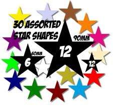 30 x ASSORTED SIZE STAR SHAPE DECAL VINYL STICKER for CAR WALL GUITAR GRAPHIC