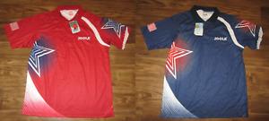 Joola USA Table Tennis Mens Polo Shirt, Ping Pong, BL Cool, Blue, Red, New