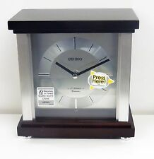 SEIKO CONTEMPORARY MANTLE CLOCK IN DARK BROWN WOODEN CASE QXW441BLH