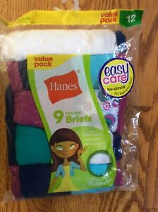 Girls Hanes 9 Pack Tagless Briefs Size 12 Easy Care Pre-shrunk
