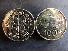 Pièce monnaie ISLANDE ICELAND 100 KRONUR 2011 poisson fish NEUF UNC NEW