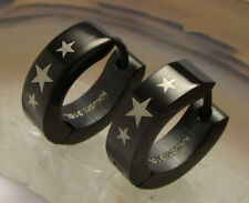 Kikuchi Herren Damen Ohrringe Schwarz glatt Edelstahl Creolen Stern Sterne Star