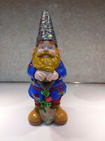 """Gnome statue, one of a kind, hand painted, Garden or Indoor, 11 1/2""""Tall"""