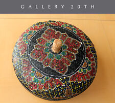GORGEOUS! HANDCRAFTED POLYCHROMED WICKER MEXICAN BASKET! BOWL CATCHALL MANDALA