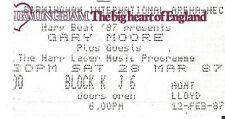GARY MOORE NEC Birmingham 1987 Used Ticket Stub