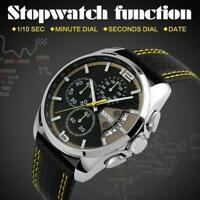 Mens Leather Waterproof Sport Luxury Date Wind up Quartz Chronograph Watch