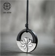 Vintage Wooden Pendant & Necklaces Black Lotus Handmade Sandalwood Chockers