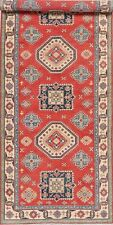 Geometric PALACE Super Kazak 16 ft Long Wide Runner Rug Hand-Knotted RED 5'x16'