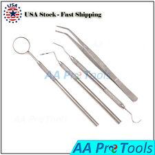 Basic Dental Instruments 4 Pcs Set Mirror Handle Probe Scaler Amp Pliers Pr 0012