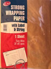 """Strong Brown Wrapping Paper CLUB with Label String Pack 30"""" x 40"""" Fast Dispatch"""