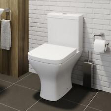 Square Close Coupled Modern Bathroom Toilet White Ceramic Soft Close Seat WC Pan