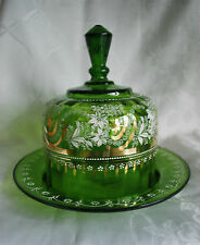 Large Victorian Enamel Painted Cheese Dome - Moser Bohemian Czech Glass #66