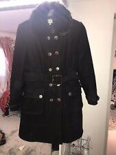 Karen Millen Black Cashmere Wool Coat Silver Button Fur Collar 16 14