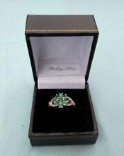 Anillos de joyería con gemas verde de plata de ley esmeralda
