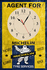 MICHELIN TYRES WALL CLOCK. OLD AGED RUSTED LOOK GREAT FOR GARAGE, WORKSHOP, ETC.