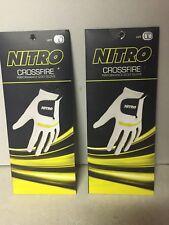 Lot X2 Nitr Crossfire Performance Golf Gloves Men's Left Hand White Yellow Sz L