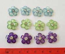 Dress It Up Plastic Flatbacks Blue Purple Green Flowers with silver centre 5955