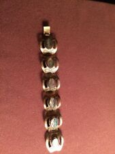 Vintage 925 Mexico Sterling Silver Wide Link Bracelet with Abalone