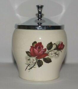 Vintage Ceramic Sugar Bowl w. Lid Rose Design Sandland Made in England c.1940s