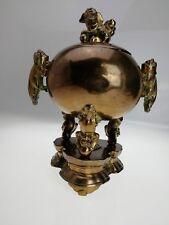 Brûle parfum encensoir ancien en bronze XIXème chinois lion