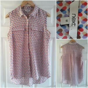 NEXT Heart Print Sleeveless Shirt Blouse Size 12 Buttons Pockets Multicoloured