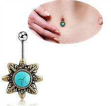 Crystal Turquoise Dangle Belly Navel Flower Button Barbell Bar Body Piercing