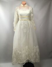 VTG 60s Alfred Angelo Ruffle Puffy Prairie L/S High Neck Wedding Dress Lace S/M