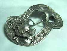 Sash Pin 2 7/8� Victorian Silver Plate Floral