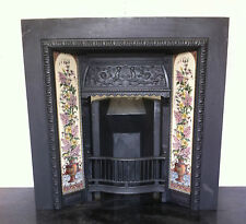 Original Restored Antique Cast Iron Victorian Tiled Insert Fireplace (EM082)
