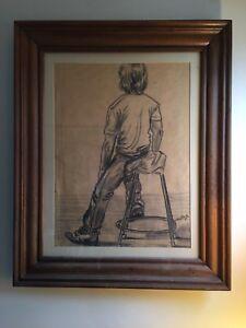 1 Hour Study Framed Charcoal Art