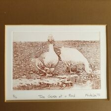 Mick Cox ? Signed Etching Two Geese At A Pond 5/10 Dated 1985