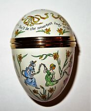 Crummles Enamel Box - Easter Parade Egg - Irving Berlin - Girls & Daffodils