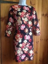 Boat Neck 3/4 Sleeve Floral Plus Size Dresses for Women