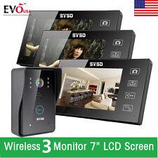 """7"""" Wireless 3 Monitors Video Doorbell Security Intercom 6 IR Door Phone Camera"""