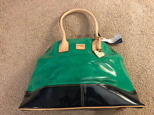 Dooney and Bourke handbag, medium, Patent Leather. Green/Blue