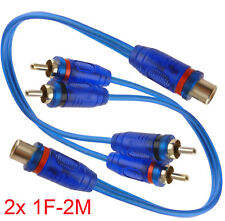 "Qty: 2) 7"" RCA Audio Cable ""Y"" Adapter Splitter  1 Female to 2 Male Plug OFC 2x"