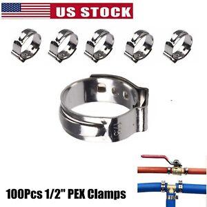 100X 1/2'' PEX Clamp Cinch Rings Crimp Pinch Fittings 304 Stainless Steel
