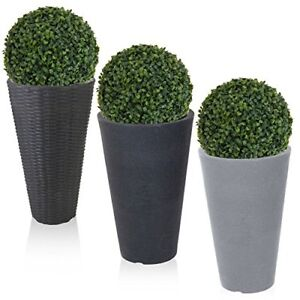 Round Plant Flower Pot Stone Effect Rattan Artificial Ball Plant Garden Bucket