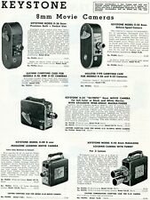 1952 Print Ad Keystone Model K-36 K-22 K-32 Olympic K-40 K-45 8mm Movie Cameras